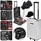 Monzana Werkzeugkoffer XXL gefüllt Set 929tlg | abschließbar | Aluminium Rollkoffer | inkl....