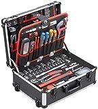 Meister Werkzeugtrolley 156-teilig - Werkzeug-Set - Mit Rollen - Teleskophandgriff/Profi...