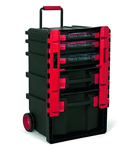 TAYG 484931 Kunststoffkoffer Nr. 59 (für Kleinteileboxen, mit Laufrollen, Teleskopgriff, Maße...