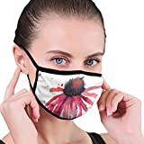 Comfortable Windproof mask,Summer Wildflower Blowing In The Wind Red Spotted Background Nature...