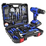 LETTON Werkzeugkoffer mit Bohrer 21V Akku, Haushaltshandwerkzeugsatz für die Reparatur zu Hause mit...